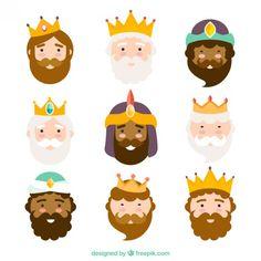 Caras de los reyes Magos en Vectores