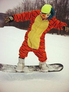#onesie #kigurumi #skiing #snowboarding #snow #snowy #mountain #minion #eeyore #tigger #ski #partying #costume #kigu #animal #pajama