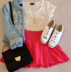Girly outfit for today by Jelena27 don't really wear denim jackets but ,might make an exception ;-)