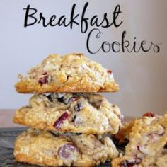 Breakfast Cookies - full of oats, coconut, dried cranberries, and cinnamon for a delicious flavorful cookie, not just for breakfast ~ ha! Make Ahead Breakfast, Breakfast Dishes, Breakfast Snacks, Breakfast Items, Oat Cookies, Cookies Et Biscuits, Thumbprint Cookies, Yummy Cookies, Cookies Integral