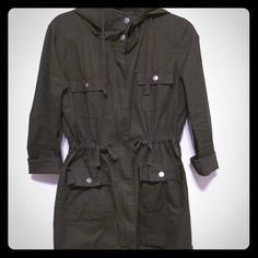 Green utility light jacket Cute green utility jacket. For spring and summer time. It's very light so it wouldn't reall keep you warm. Looks great with black and white stripes and jeans! Forever 21 Jackets & Coats Utility Jackets