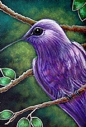 Art: VIOLET SABREWING HUMMINGBIRD by Artist Cyra R. Cancel