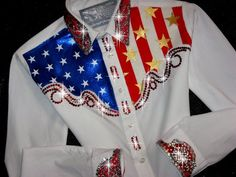 Just Fly Designs Bling Patriotic Grand Entry Rodeo Queen Rodeo Shirt Western Show Shirts, Western Show Clothes, Rodeo Shirts, Cowgirl Shirts, Horse Show Clothes, Horse Clothing, Cowgirl Clothing, Cowgirl Outfits, Cowgirl Style