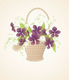 drawing of a boquet of lilies in a basket | 0 0 0