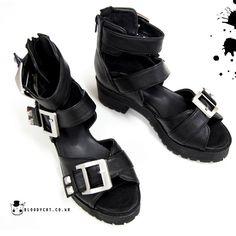 Womens Black Sandal Leather Shoes Punk Unisex