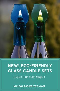 Everything you'll need to convert 2 empty wine bottles into a beautiful clean-burning candle! #ecofriendly #winecandle #candles #glasscandles #chimneycandles Wine Bottle Candle Holder, Candle Holders, Candle Set, Glass Candle, Empty Wine Bottles, Wine Bottle Candles, Burning Candle, Tablescapes, Light Up