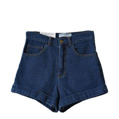 Dark Blue High Waist Roll-up Denim Shorts (€20) ❤ liked on Polyvore featuring shorts, high-waisted denim shorts, high-waisted shorts, denim shorts, high waisted stretch shorts and stretchy high waisted shorts