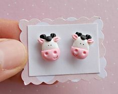 Cow Earrings, Cow Studs, Cow Jewelry, Cow Gift, Animal Studs, Animal Jewelry, Animal Gift, Farm Studs, Farm Jewelry, Farm Earrings