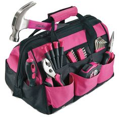 Pink Tool Set From The Pink Superstore - Multi purpose pink tool bag with heavy duty zippers. The tools have comfortable grips and handles. ...