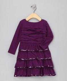 Plum Tiered Sparkle Dress