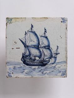 Wall tile, Harlingen, Netherlands, 1650-1700, tin-glazed earthenware with painted decoration in blue, a ship V C.571:3-1923