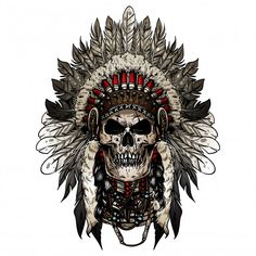 Find Native American indian skull face stock vectors and royalty free photos in HD. Explore millions of stock photos, images, illustrations, and vectors in the Shutterstock creative collection. Indian Tattoo Design, Skull Tattoo Design, Skull Design, Tattoo Designs, Biker Tattoos, Leg Tattoos, Body Art Tattoos, Sleeve Tattoos, Indian Chief Tattoo