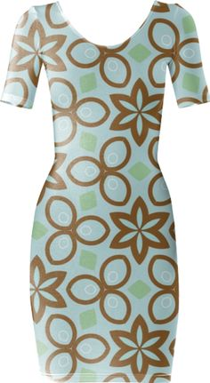 Blue and Brown Geometric Bodycon Dress
