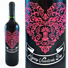 Beautiful, creative Valentine's Day gift - Custom Etched Wine. Perfect for a girlfriend, boyfriend, husband, wife or friend. Can be personalized! #wine #valentinesday #gift