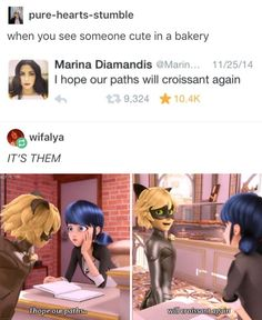 I saw a really cute guy in a dessert shop and I was like 'oh, we have to meet in an after life!' WAIT WHAT EPISODE Miraclous Ladybug, Ladybug Comics, Bugaboo, Lady Bug, Httyd, Kids Shows, Tv Shows, Marinette Adrien, Mlb