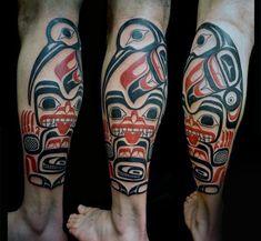 Guys Legs Haida Goddess Tattoo