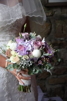 "The Fabulous Wedding Bouquet White Peonies in September I used them in this beautiful Bridal Bouquet together with  Memory Lane, Amnesia, Quicksand, Champagne, Metalina and Snowflake Roses, Hydrangea ""Magic Harlequin"" Lily of the Valley, Lavender, Wax Flower, Freesia, Lissianthus, Oregano, Senecio and Eucalyptus"