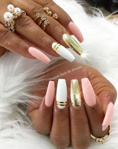 Are you looking for acrylic coffin nails art designs that are excellent for your new acrylic coffin nails designs this year? See our collection full of acrylic coffin nails art designs ideas and get inspired! Fabulous Nails, Gorgeous Nails, Hot Nails, Pink Nails, Colorful Nail Designs, Nail Art Designs, Nails Design, Diy Ongles, Nagel Gel