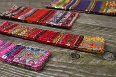 cuff bracelets, made from textile scraps