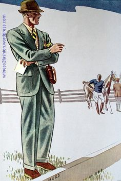 """""""Ahead of the crowd"""" spectator sport clothes, Esquire, Sept. 1934, p. 116."""