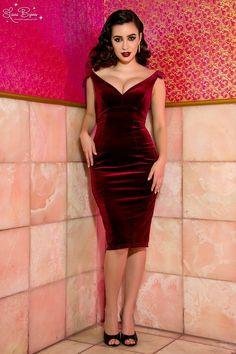 The Laura Byrnes Gilda Dress in Deep Wine Velvet