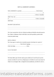 Sample Printable Standard Rental Agreement Form  Latest Sample