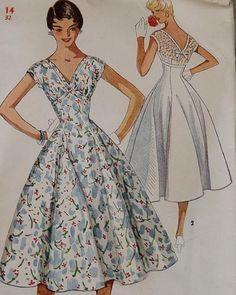 1950s dress sewing pattern illustrations.