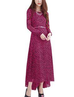 Allegra K Women's Pink Long Sleeve Leopard Prints Hidden Zip Back Dress w Belt (Size S / 4)