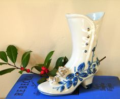 Your place to buy and sell all things handmade Ceramic Shoes, Glass Ceramic, Glass Shoes, Blue Onion, Blue And White China, Glass Slipper, Beautiful Shoes, Attic, Slippers