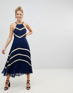 Blue Pleated Midi Dr