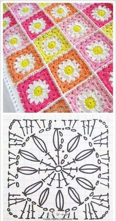 Easy to make crochet granny square pattern. Free crochet chart by Color'n creamColor 'n Cream Crochet and Dream: New Flower Squarecrochê passo a passo ( Motifs Granny Square, Granny Square Bag, Granny Square Crochet Pattern, Crochet Diagram, Crochet Chart, Crochet Squares, Crochet Granny, Granny Squares, Square Blanket