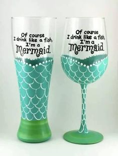 Mermaid Wine/Beer Glasses #WineGlasses