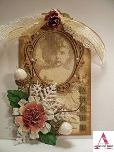 Shabby Vintage Sepia Angel Tag...with lace, snowflake & flowers...by Angela Holt's Design, via Flickr.