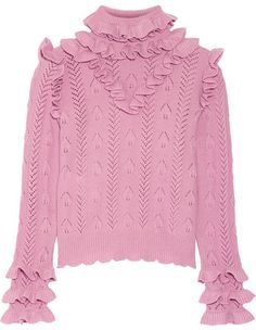 Gucci - Ruffled Pointelle-knit Wool-blend Sweater - Baby pink
