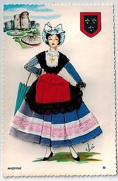 Angevine-France-Embroidered-silk-fabrics-ethnic-dress-old-1960s-postcard-vb05