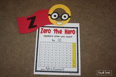 First Grade in Foxwell Forest: Zero the Hero Freebie! Kindergarten Calendar, Beginning Of Kindergarten, Kindergarten Freebies, Kindergarten Counting, Kindergarten Readiness, Kindergarten Teachers, Elementary Teacher, Superhero Classroom, Math Classroom