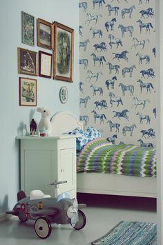 Retro boy's bedroom. Horses, cars and planes.