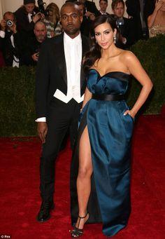 Beautiful in blue: Kim Kardashian looked ravishing alongside fiance Kanye West in a royal ...