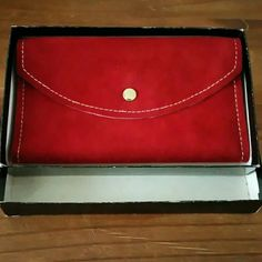 Vintage red suede wallet Vintage side wallet new in box  Ask for an extra bundle discount the more items the greater discount✌ ✈Fast Shipping  I  legit offers   No Paypal  No Trades  No Lowballing Bags Wallets