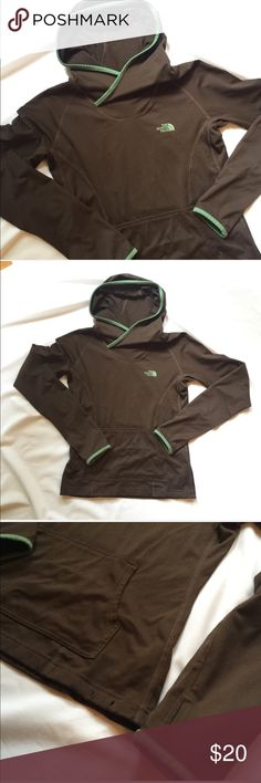North face sweatshirt.  Small. North face sweatshirt. Brown & green. Small.  Has thumb holes in the sleeves.  Bust measures approximately 17 1/2 inches. Please note the drawstring on the bottom is missing. North Face Tops Sweatshirts & Hoodies