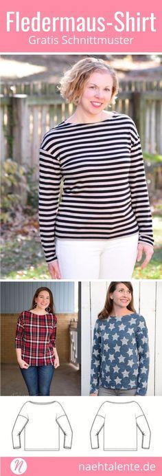 Gratis Schnittmuster für ein Fledermaus-Shirt mit U-Boot-Ausschnitt für Damen. Klassische Schnittführung mit überschnittenen Ärmeln und zwei Ärmellängen: Nähe das Shirt mit langen oder 3/4-Ärmeln. Gr. 34 - 50. PDF-Schnittmuster zum Ausdrucken zuhause. Einfach zu nähen und für Anfänger geeignet. #nähen #freebook #schnittmuster #gratis #nähenmachtglücklich #freesewingpattern #handmade #diy