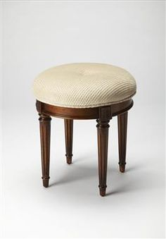 Masterpiece Olive Ash Burl Wood Vanity Stool