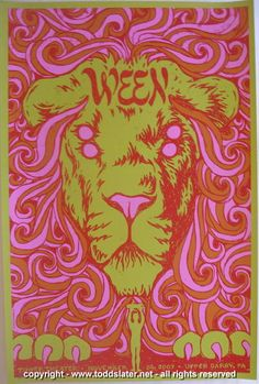 Ween - silkscreen concert poster (click image for more detail) Artist: Todd Slater Venue: Tower Theatre Location: Upper Darby, PA Concert Date: Edition: signed and numbered out of 200 Size: Festival Posters, Concert Posters, Gig Poster, Tour Posters, Band Posters, Music Posters, Music Artwork, Art Music, Musik Illustration