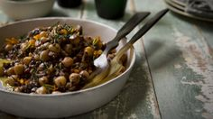 Chickpeas with mushroom and red-wine vinaigrette