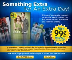 Free Blockbuster movie rental today only, print your coupon here-