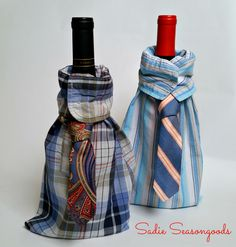 DIY Upcrafted Wine Father's Day Gift Bag - Upcycle a men's dress shirt and necktie into this swanky wine gift bag- perfect for Father's Day.