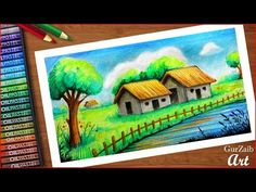 Indian Village Huts scenery drawing with oil pastels - step by step (very easy) Tree Drawing For Kids, Drawing Classes For Kids, Scenery Drawing For Kids, Tree Drawing Simple, Art Drawings For Kids, Bird Paintings On Canvas, Oil Pastel Paintings, Oil Pastel Art, Watercolor Paintings