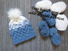 TUTO BONNET POINT VENT DE SABLE AU TRICOT Hat beanie knitting GORRO DOS AGUJAS - YouTube Knitting For Kids, Baby Knitting, Knit Beanie, Beanie Hats, Bonnet Crochet, Knitted Hats, Crochet Hats, Bonnet Hat, Owl Hat