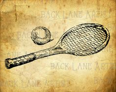 Tennis Racket Ball Clipart Lineart Illustration by BackLaneArtist