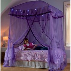 For modern girls room one of stylish canopy bed from purple fabric color, Stylish purple canopy bed for girls room, girls canopy bed, canopy bed designs, girls canopies
